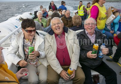 230819 L-R Madeline McCarthy, Eugene Ryan and Colman Keane during the RNLI fund raising cruise to the Cliffs of Moher and Inis Oir with Doolin2Aran Ferries Star of Doolin on Friday evening.Pic Arthur Ellis.