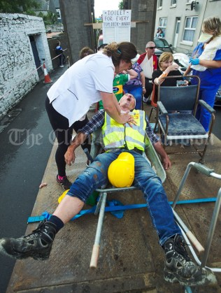 Participants of the award winning Centra float go about their gory work during the Cultural Parade as part of the annual Festival Of Fun in Kilmihil. Photograph by John Kelly
