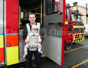 020819 Patrick Campion with 11 month old Matthew, Mountshannon, at the Fire Station Open Day at the Scariff harbour festival on Sunday.pic Arthur Ellis.