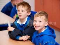 Reese Cusack and Derry Mulqueen settle in for the first day of school at the newly built Ennis CBS primary school. Photograph by John Kelly