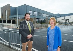 Principal Dara Glynn and Deputy Principal Mary Murphy during the first day of school at the newly built Ennis CBS primary school. Photograph by John Kelly