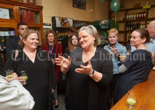Margaret O Brien, Programme Director, speaking at the launch of Ginis, a new limited edition Gin, at the official opening of the Clare Food And Drink Fleadh in Fawl's Bar, Ennis. Photograph by John Kelly