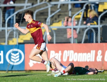 Cormac Murray of Miltown celebrates a late point during their senior football county final replay at Cusack Park. Photograph by John Kelly.