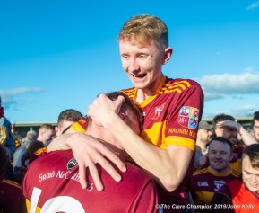 Michael Murray and Cian Flanagan of Miltown celebrate following their senior football county final replay win over KIB at Cusack Park. Photograph by John Kelly.