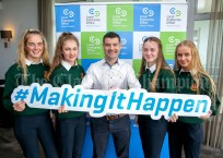 REPRO FREE 260919 Launching Local Enterprise Office Student Enterprise Programme 2019 was Declan Meaney, Local Enterprise Office Clare, with students from Scoil Mhuire Ennistymon during Student Enterprise Induction Day at The Armada Hotel in Spanish Point.Pic Arthur Ellis.