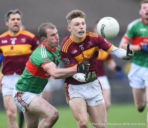 Cormac Murray of Miltown in action against Cathal Crowch of Rathgormack of during their Munster Club quarter final at Miltown. Photograph by John Kelly