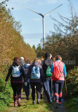 Walkers head inland through the bogs towards the windmills on the Shades Of Autumn 10k walk in aid of the RNLI on bank Holiday Monday at Shragh. Photograph by John Kelly.