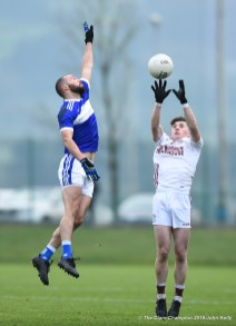 Sean Sheehan of Templenoe in action against Colm O Brien of St Breckan's during their Munster Club Intermediate final at Mallow. Photograph by John Kelly