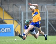 Ryan Taylor of Clare in action against Diarmuid Conway of Laois during their National League game at Cusack Park. Photograph by John Kelly