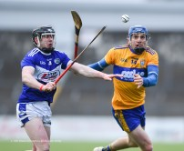 Shane O Donnell of Clare in action against Donnacha Hartnett of Laois during their National League game at Cusack Park. Photograph by John Kelly