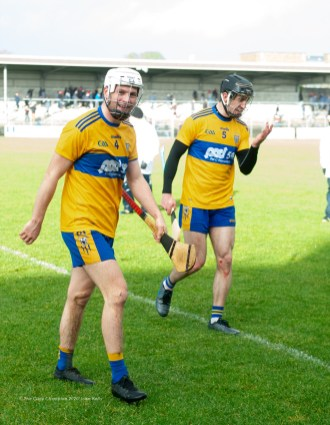Happy faces on Jack Browne and Stephen O Halloran of Clare following their National League game against Laois at Cusack Park. Photograph by John Kelly