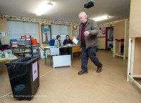 Oliver O Keeffe voting in the General Election 2020 at Crusheen NS. Photograph by John Kelly.
