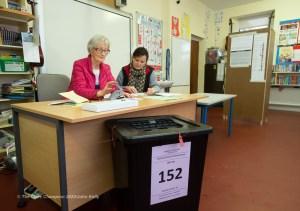 Teresa Cullinan, Presiding Officer and Sally Mc Namara, Poll Clerk at Boston NS Polling Station during voting in the General Election 2020. Photograph by John Kelly.