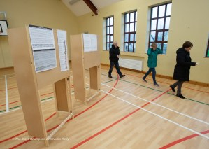 Voters arrive to cast their votes during voting in the General Election 2020 at Corofin school. Photograph by John Kelly.