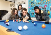 College placement student James Peter playing pool with Emma Louise Thynne, Caitlyn Griffin and Donncha Mc Manus at the North West Clare Family Resource Centre in Ennistymon. Photograph by John Kelly.