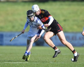 Diarmuid Cahill of St Flannan's in action against James Dwyer of CBC Cork during their Harty Cup final at Mallow. Photograph by John Kelly