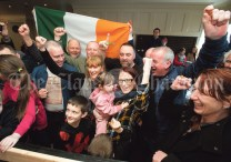 Violet-Anne Wynne, (SF), her family and supporters celebrate as she is deemed elected at the Clare General Election 2020 count in The Falls Hotel, Ennistymon. Photograph by John Kelly.