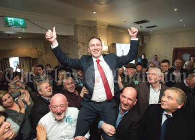 Joe Carey, (FG) celebrates his election at the Clare General Election 2020 count in The Falls Hotel, Ennistymon. Photograph by John Kelly.