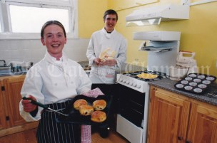 Hotel/catering and Tourism Tutor, catriona Gannon and LCA 1 student Adrian Downes in the kitchen at the VEC Youthreach in Miltown Malbay.
