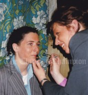 Collette Downes, being made up by Sharon Murray for 'My Fair Lady'.