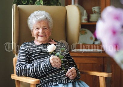 Mrs Nellie Jude, originally Garrihy from Ennistymon, celebrating her 106th birthday. Photograph by John Kelly