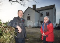 Eamon Cooney, chairman of O Callaghan's Mills Community Council with PRO Pat O Brien outside the newly renovated O Callaghan's Mills Community Centre, , the former national school. Photograph by John Kelly
