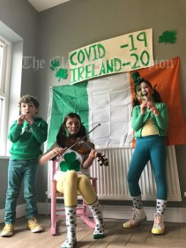 Ronan, Anna and Hazel Fleming from Killaloe celebrating St Patrick's Day at home
