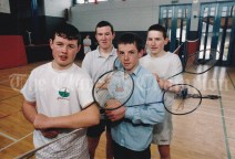 St Anne's Secondary School, Killaloe U-16 boys badminton team. Stephen Byrnes, patrick Aherne, Shane Byrnes and William Neary. Photograph by John Kelly