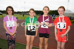 Medal winners at the Girls U10 60m hurdles were (l-r) 2nd Ellie Carroll (Ennistymon-Lahinch-Liscannor), 4th Orla Downes (Kilmihil), 1st Olivia Shannon (Doora-Barefield) and 3rd Ella Sweeney (Quin-Clooney). Photography by Eugene McCafferty