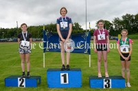 Winners of the Girls Long Jump were: 1st Isobel Horgan (Cooraclare-Cree), 2nd Maeve Kelly (Ennis-St-Johns), 3rd Emma McGann(Doora-Barefield) and 4th Isabel Maher (Broadford-Kilbane-Kilmore). Photography by Eugene McCafferty