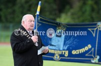Cllr PJ Ryan, Cathaoirleach of Clare County Council, welcomes the competitors and officials to the 2021 Clare Community Games Athletics Finals. Photography by Eugene McCafferty