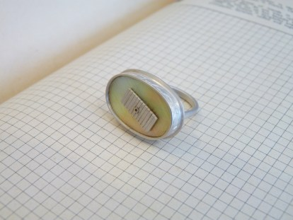 7. Ring with MOP, ivy setting, linear panel (size P / Mother-of-pearl is 22 x 14mm) was £110 / now £50