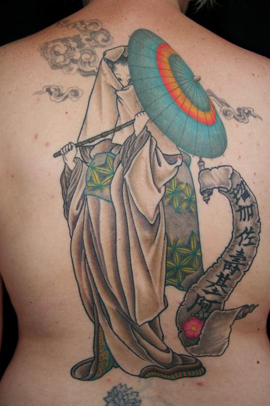 Femme geisha back tattoo