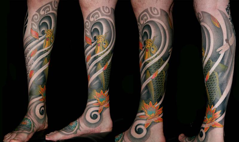 Polynesian/Oriental Hybrid Koi Leg Sleeve Tattoo