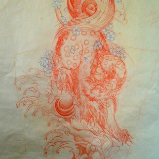 Completed sketch of Shishi (foo dog)