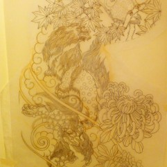 Freehand stencil drawing of Shishi (Foo dogs)
