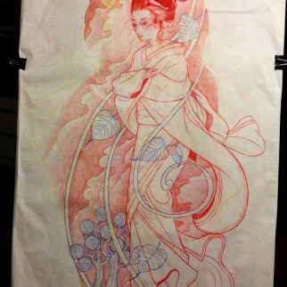 Freehand stencil drawing of Geisha full sleeve