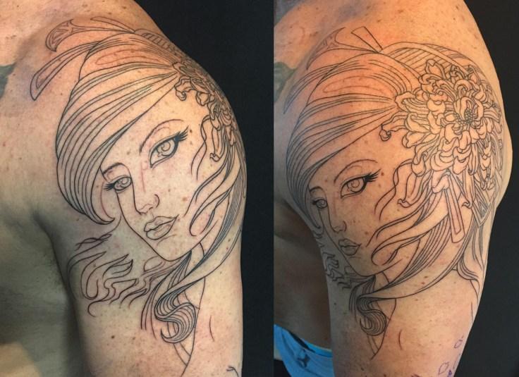 clareketontattoos_wip_geisha_chrysanthemum_outline