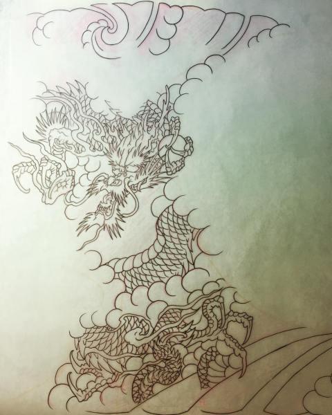 clareketontattoos_wip_dragon_stencil