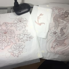 Leg, sleeve, orchid, back piece