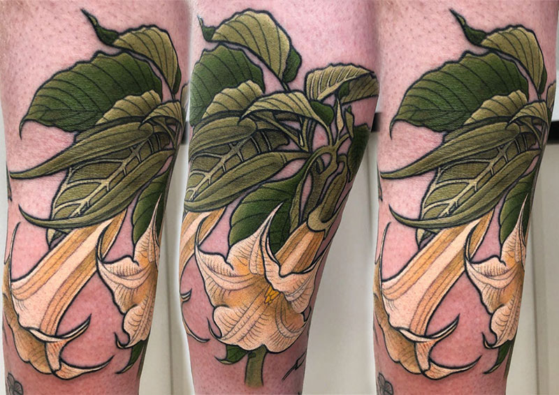 Datura Flower tattoo by Clare Keton