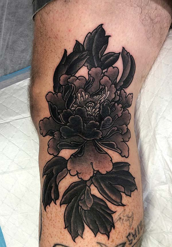 Black work Peony Tattoo