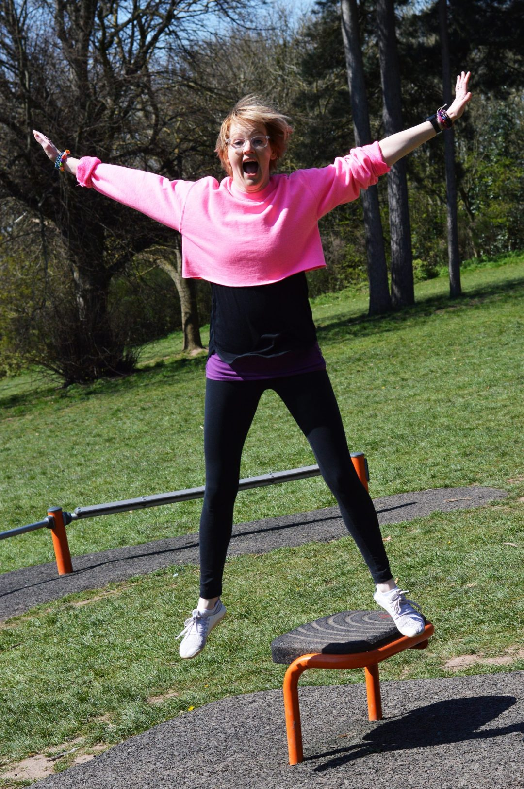 Jumping Clare in pink jumper