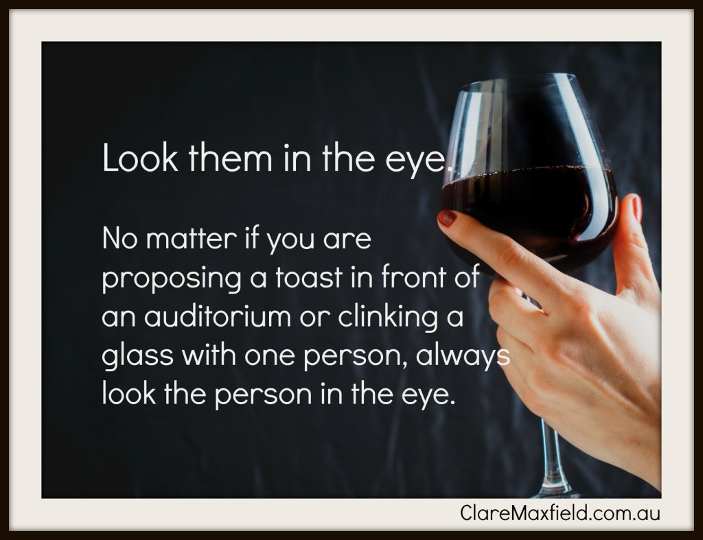 Who and How to propose a toast during a meal and the wines to use.