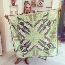'Cockatoo' Cotton scarf 105cm x 105cm £55