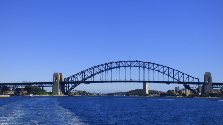 The view as the ferry pulls away from Sydney Harbour Bridge