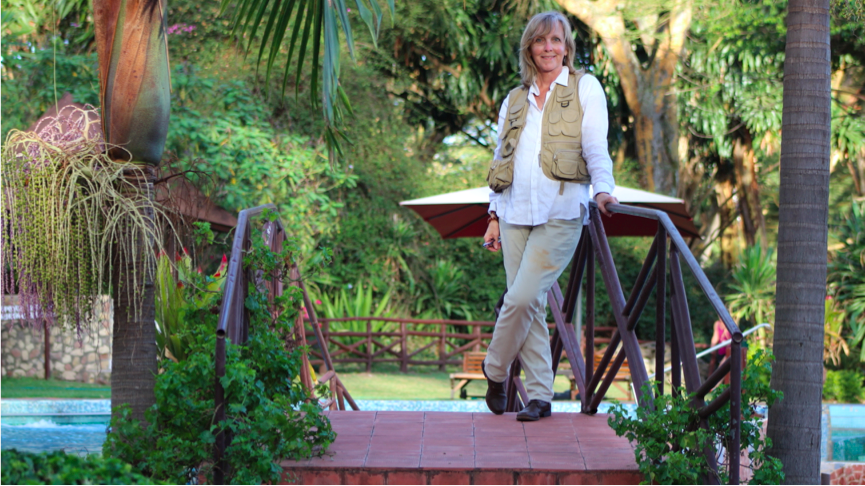 Dawn Langley author in tropical garden
