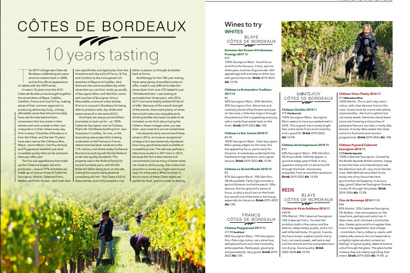 Claribes wines selected in the Cotes de Bordeaux 10 year tasting