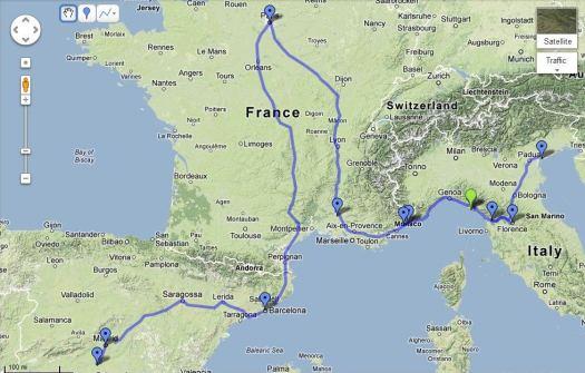 Venice - Lucca - Florence - Cinque Terre - Nice - Monaco - Avignon - Paris - Barcelona - Madrid - Toledo