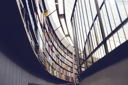 image of a curved wall filled with library books